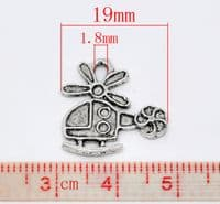 Silver Colour Charm - Helicopter (Pack of 5)